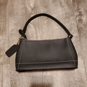 NWOT black leather Coach mini purse/clutch
